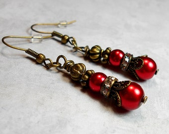 Drop Earrings, Dangle Earrings, Red Earrings, Beaded Earrings, Faux Pearl, Ladies Gift, Retro Style, Antiqued Brass, Rhinestone Earrings