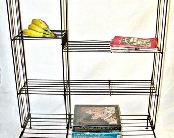 Cool Vintage Industrial Metal Wire Rack 4 tier Bookshelf Unusual Standing Wire Shelf  32 x 39 x 11