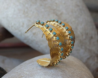 Feather Hoop Earrings, Gold Turquoise Hoop Earrings, Gold Feather Earrings, Swarovski Turquoise Hoop Earrings Feather Jewelry, Feather Hoops
