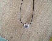 Simple Minimalist Necklace: Floating Hill Tribe Fine Silver Origami Cube on Silk Cord