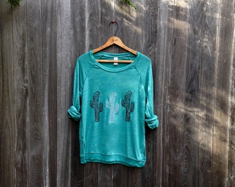 desert girl Cactus Shirt, Slouchy Pullover, Yoga Top, S,M,L,XL