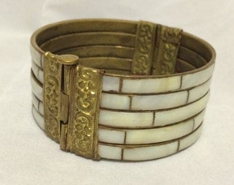 "MOP Shell Inlay Bracelet with Brass Hinged Pin Clasp 2.5"" Diameter - Good for Large Wrist!"