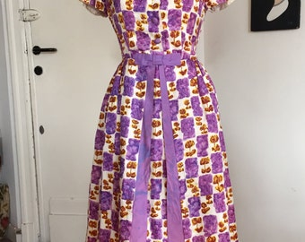 Vintage 50s 60s watercolor dress AS IS