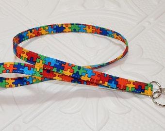 Lanyard - Fabric Lanyard - Teacher Lanyard - Key Lanyard - Puzzle Autism Awareness
