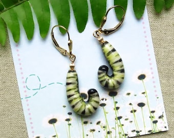 Monarch Caterpillar Porcelain Earrings, Monarch Butterfly Lover Gift, Butterfly Theme Jewelry, Metamorphosis, USA Artisan Handmade Sculpted