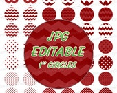 "INSTANT DOWNLOAD - 1"" Circles Editable JPG 0005 Light maroon red polka dots chevron Bottle cap Hairbow party Decoration magnets atc aceo pyo"