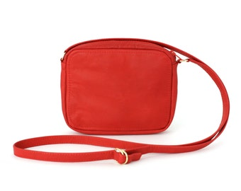 Genuine Leather Crossbody Zip Bag Poppy Red, small leather purse, shoulder bag