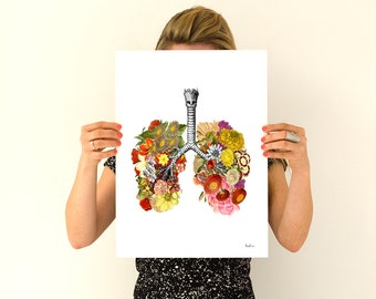 Flowery Lungs Human Anatomy print Anatomical art prints wall art wall decor , gifts for doctor , medicine , SKA062WA3