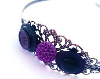 Purple headband, purple and black - filigree headband - vintage buttons, purple, black, purple flower, chrysanthemum - metal headband