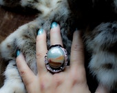 RED EARTH, Wild Horse Jasper, copper statement ring, size 7, hand forged, tribal, rustic earth, sky, blue gray, rust red, southwest