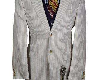 38R Off White Blue Pinstripe Linen Lightweight Princely Blazer