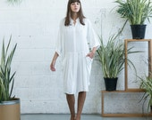 Winter Final Sale SALE!Oversized Buttoned Shirt Dress,Dropped Waist Shirt Dress, White.
