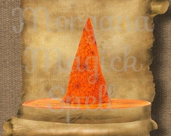 Orange WITCH HAT  Royalty Free Clipart Illustration Wiccan Digital Image Download Printable Graphic Clip Art Transfers Prints