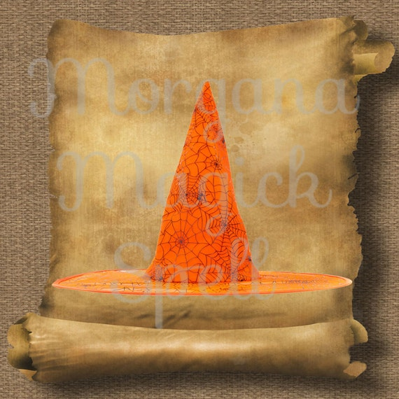 Orange Witch Hat Royalty Free Clipart