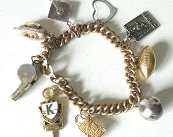 Vintage Assembly School Graduation Charm Bracelet,  Alumni  Bracelet, Small-Med