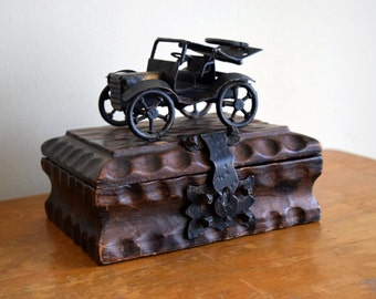 Small unique handcrafted vintage wood box w/ornate metal car - Steampunk, Industrial