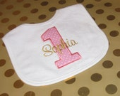 1st Birthday Bib   Personalized Smash Cake Bib     Girl Pink Gold or  Pink Silver