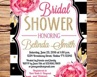 Watercolor flowers Bridal Shower Invitation, black stripes, gold, glitter confetti, wedding, peonies bridal shower invitation, 5351