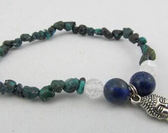Ready to ship stretchy Buddha bracelet - Turquoise chips with Buddha head charm, quartz and lapis lazuli