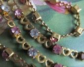 Crystal  Swarovski  Double Heart Rhinestone  Chain 18 Inches