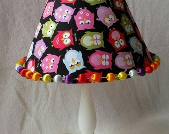 COUPON CODE!!! Vintage Rainbow Owls Lamp Shade