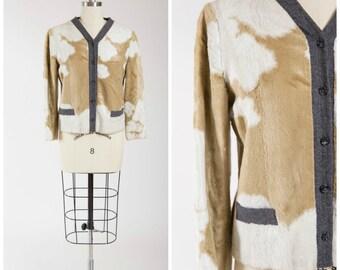 Vintage 1950s Jacket • Lone Love • Faux Cowhide 50s Jacket Wool Trim Size Medium