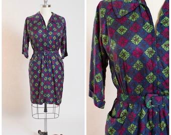 Vintage 1950s Dress • Floral Secrets • Pink Green Printed 50s Vintage Zip Front Shirt Dress Size Large