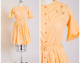 Vintage 1950s Dress • September Time • Apricot Orange Cotton 50s Vintage Shirtwaist Dress Size Small