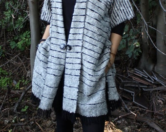 Handwoven Poncho Coat Black&White OOAK