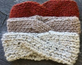 Autumn/Fall Knit Twist Headband - Chunky Wool Topknot - Thermal Ear Warmer - Crisscross Winter Headband - 12 Colors Available