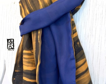 Silk Scarf Men, Gift for Men, Gift for him, Mens Silk Scarf Handpainted, Reversible Navy Blue and Orange Zen Maze Mens Scarf,  14x72 inches.