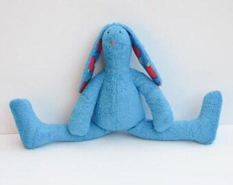 Stuffed bunny soft terry cloth turquoise blue bunny doll rabbit hare softie plush toy birthday baby shower gift idea for kids nursery decor