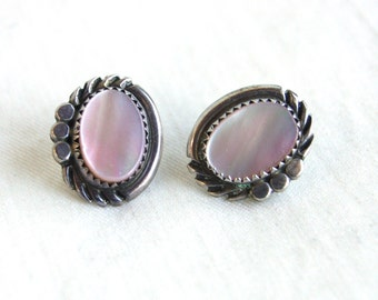 Pink Mother of Pearl Earrings Vintage Southwestern Posts MOP Sterling Silver Studs Post Native American