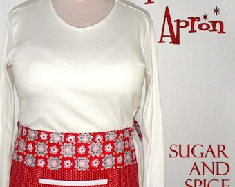 Sugar & Spice (red) Lotsa Pockets Apron, Vendor Apron with zipper pocket, Teacher- Waitress- New Mommy Apron, LIMITED EDITION, ready to ship