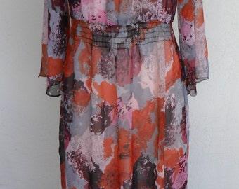 Vintage Sheer Peasant Dress Floral