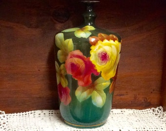 Royal Bonn Antique Vase Pink Yellow Roses