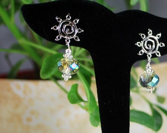 Incredible sunburst earrings, silver earrings, crystal earrings, SRAJD