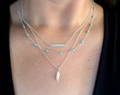 Sterling Silver Layered Necklace Set, Triple Strand Necklace, Layered Necklace, Silver Feather Turquoise Necklace, Silver Bar Necklace