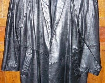 Big Shoulders Dynasty Styling 1980's Women's Leather Coat Maker Cayenne Size Medium-Large