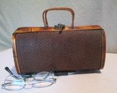 Handbag, Vintage Small Bamboo, Basketweave Geometric over Wood Frame Bag, Top Handle Bag, Tropical, Resort, Natural Brown, Brass Hardware