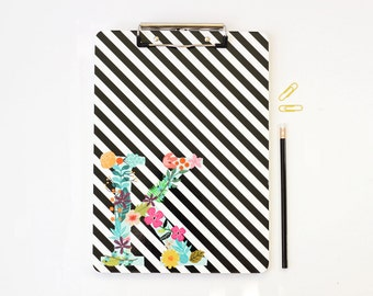 Monogram Clipboard Personalized School Supplies Custom Black and White Stripe Binder Flower Initial Clipboard Teacher Gifts Graduation Gift