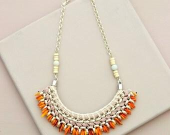 Shell Necklace, Colorblocking Necklace, Hippie Bib, Boho Necklace, Old Rose and Orange, Crochet Necklace, Statement Necklace