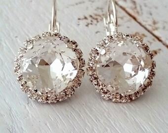 Clear crystal drop earrings,Bridal earrings,Drop earrings,Bridesmaid earring,wedding jewelry,white wedding,crystal earring,Swarovski earring