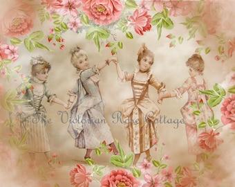 Le Minuet Children Dancing Fabric Block - Art Print