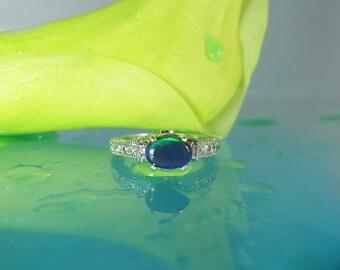 Australian Opal Ring Sterling Silver Opal Ring,Gift for Her, Promise Ring,Engagement Ring,Black Opal