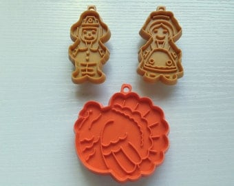 Vintage 1980s Thanksgiving Hallmark Small Cookie Cutters - Set of Three