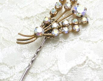 Bridal Hair Pin, Made with Vintage Jewelry, Vintage Wedding Jewelry, Jeweled Hair Pin, Wedding Hair Pin, Flower Girl Hair Pin