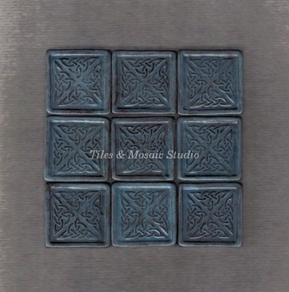 9 pieces Antique dark blue Celtic designed square tiles - 1.2 inch/piece - made to order