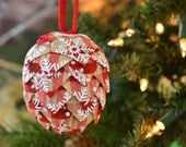 Handmade Country Christmas Ornament Snowflake Plaid Holiday Tree Decoration Victorial Folded Ribbon Ball Bauble Special Gift for Gram