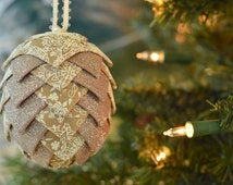 Handmade Keepsake Ornament ~ Unique Holiday Tree Decoration ~ Glitter Snowflake Ribbon Ball Bauble ~ Fancy Christmas Gift Exchange Idea